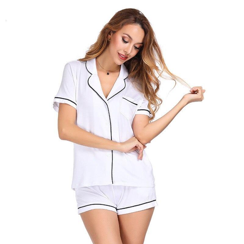 Solid Short Sleeve Shorts Two Piece Sets Summer Casual Cardigan Pajamas 2020 Women Comfortable Pajama Set Girl Pyjama Set