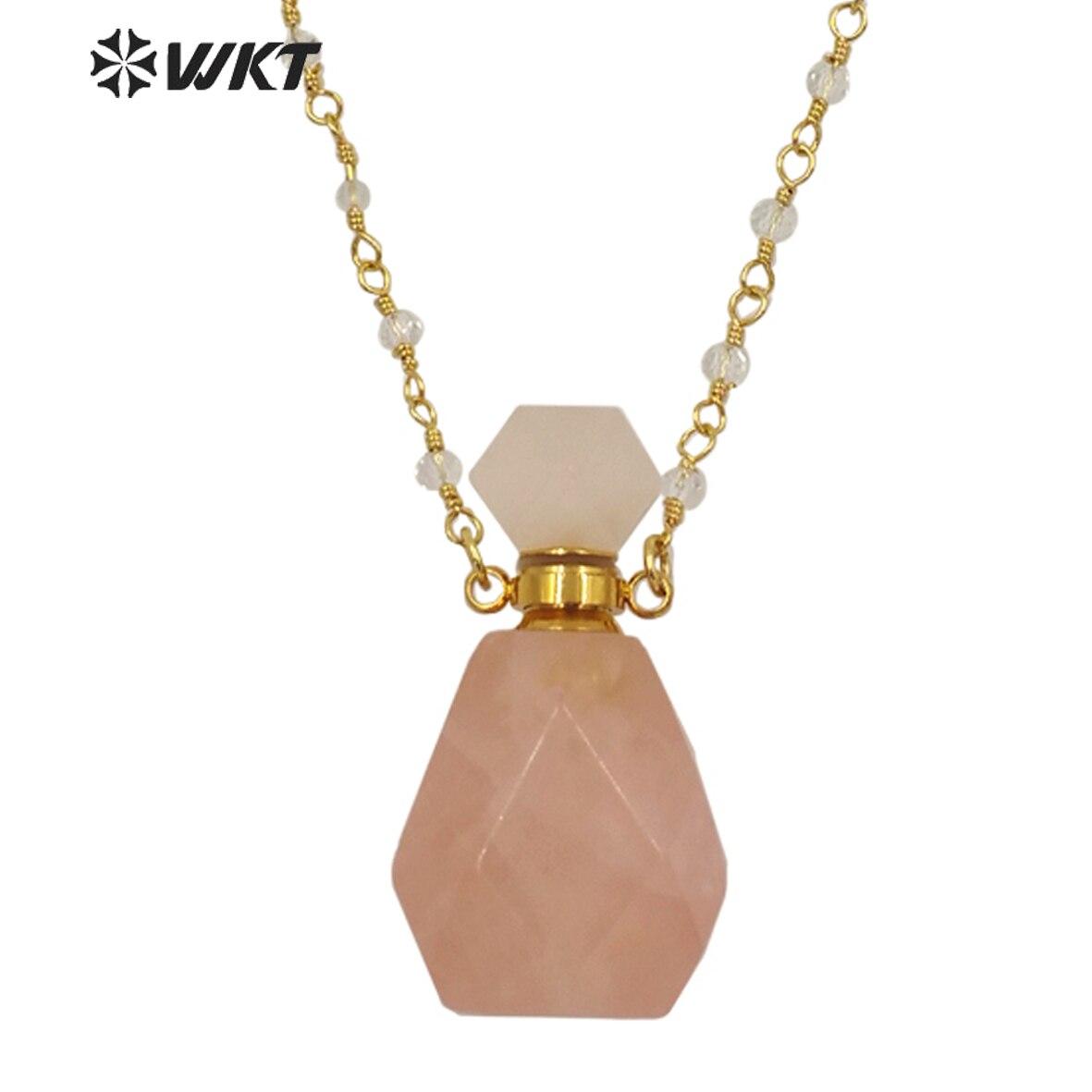 WT-N1269 الجملة سيدة حجر الميلاد عطر زجاجة قلادة الذهب الفولاذ المقاوم للصدأ المعادن الورود الكوارتز حجر زجاجة قلادة