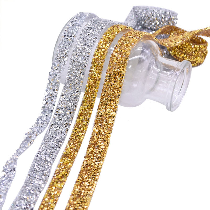 Gold Silver Rhinestone Ribbon Acrylic Diamond Belt Crysrtal AB parkling Rhinestone Ribbon Mesh Wrap Roll Bling Arts Crafts 1yard