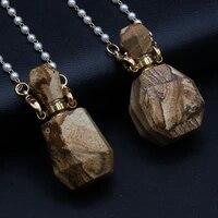 2021 best selling natural semi precious stone picture stone perfume bottle pendant free two glasses pearl chain accessories