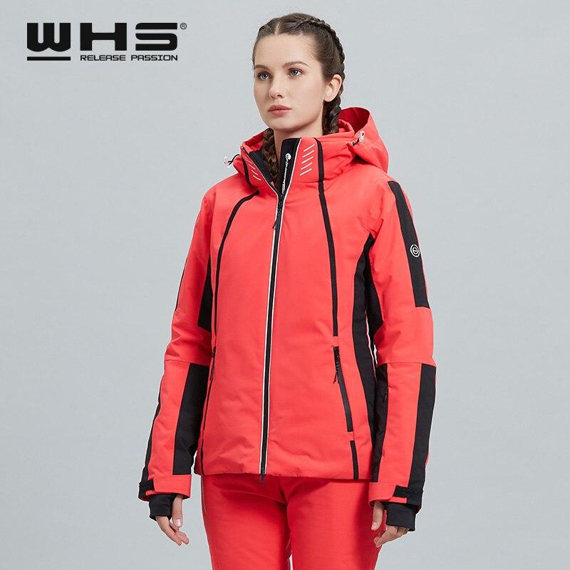 WHS Fashion  Winter Ski Suit Women's Top Coat Warm Windproof Waterproof Cotton Padded Jacket Single Snowboard Double Snowboard