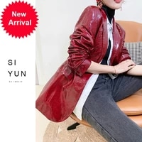 2020 spring autumn new classic design suit sheep skin red leather leather clothing womens motorcycle short loose