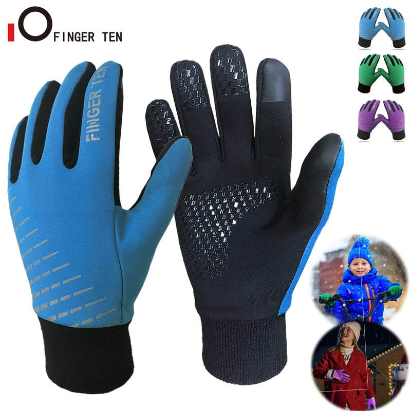New Thermal Soft Warm Kids Winter Gloves Waterproof Running Cycling Glove for Boys Girls Colors Size S M L XL