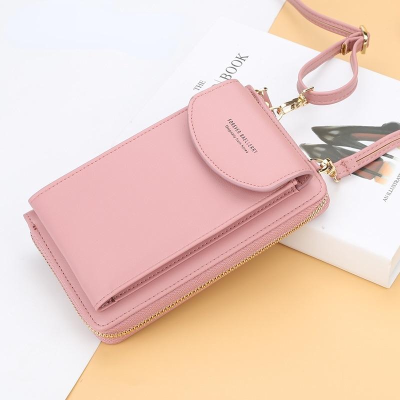 Ladies Diagonal One-shoulder Mobile Phone Bag Long Coin Purse Ladies PU Walle Women Mini Crossbody Bag Messenger Bag