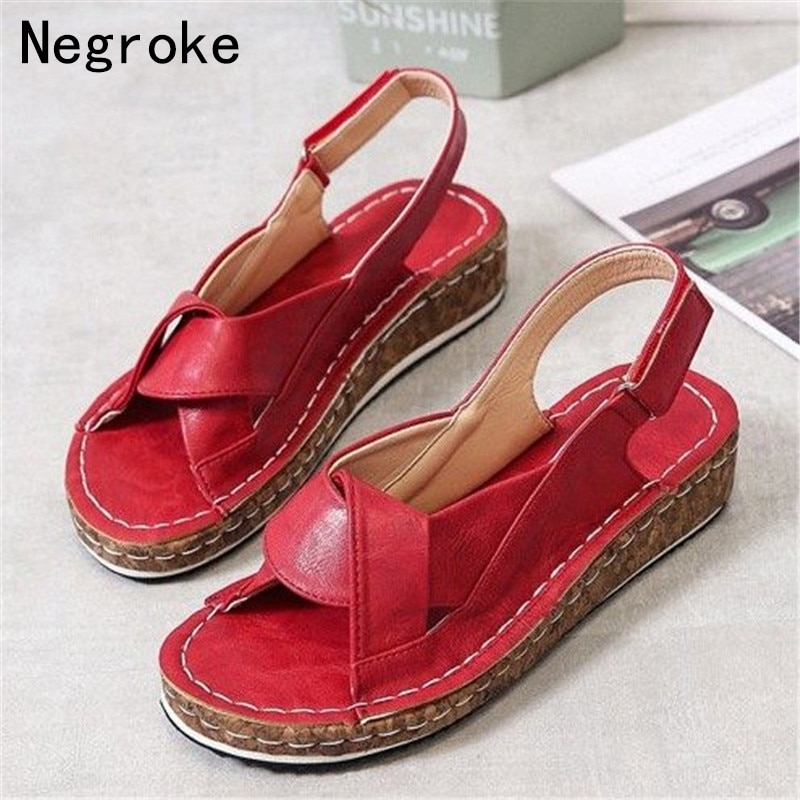 Women Sandals Summer 2020 Female Shoes Woman Peep-toe Wedge Comfortable Flat Sandalias Plus Size 43