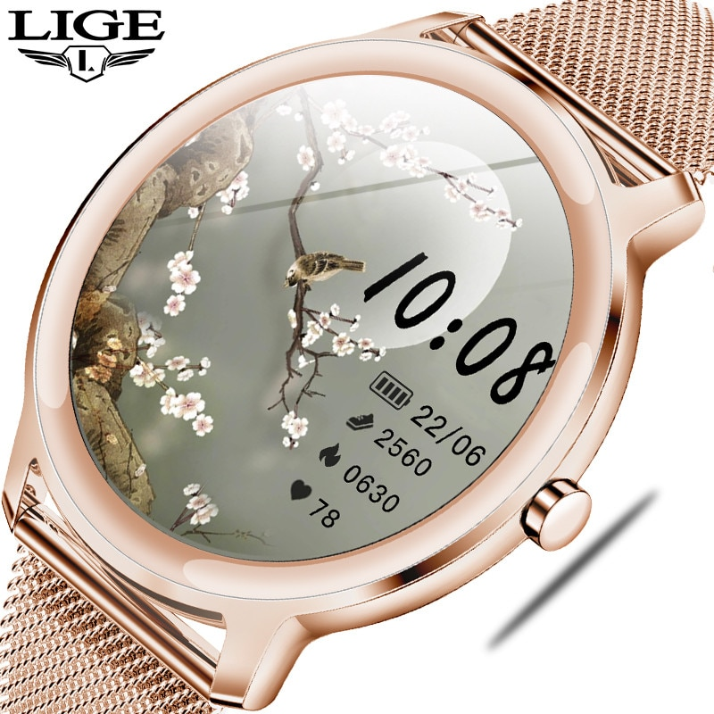 LIGE 2020 New Smart Watch Women Physiological Heart Rate Blood Pressure Monitoring For Android IOS W