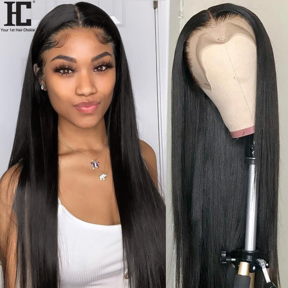 Brazilian Straight 13x4 HD transparent Lace Front Wig Pre Plucked Remy Human Hair Wigs For Women 150