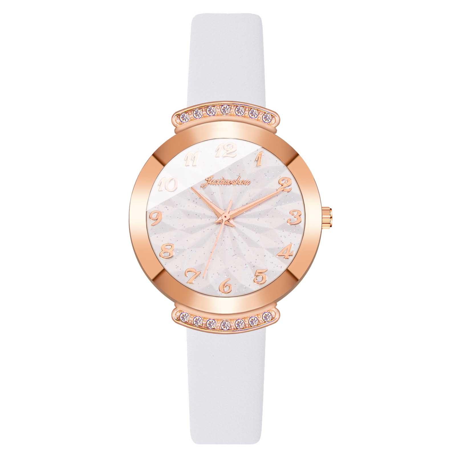 Простые белые кварцевые часы, повседневные кварцевые изысканные женские часы с кожаным ремешком, модные водонепроницаемые женские часы, ча...