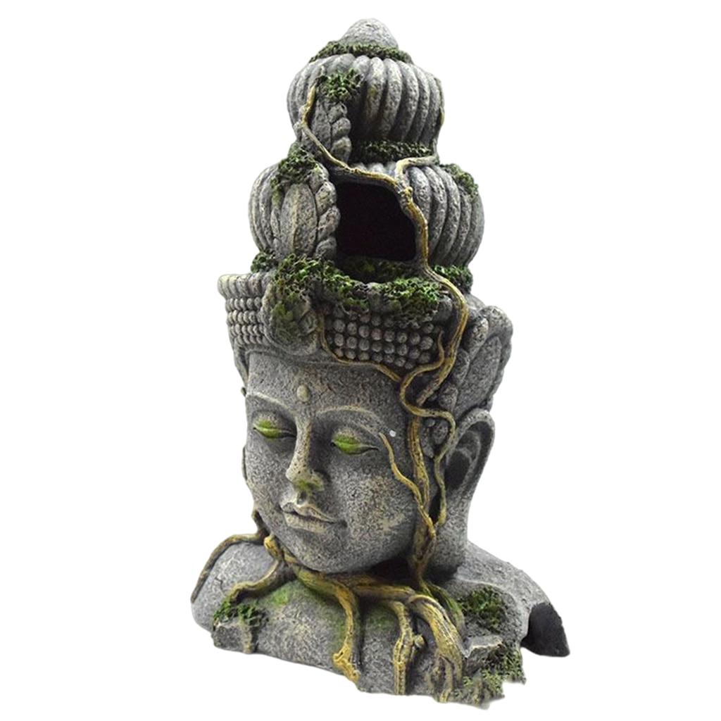 Fish Tank Decoration Aquarium Resin Landscape Simulation Of The Bodhisattva Sculpture Reptile Cave Ornament