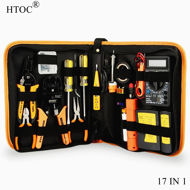 HTOC RJ45 Network Crimp Tool Kit Professional Crimper Wire Connector Stripper Cutter LAN Cable Tester Soldering Iron Repair Tool