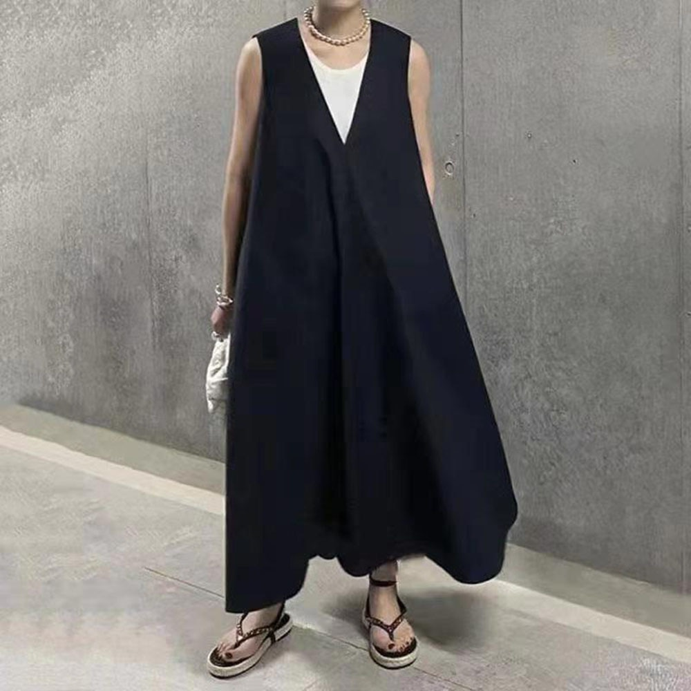 2021 Japanese Style Korean Fashion Summer New V-neck Solid Color Loose Casual Dress Simplicity Sleev