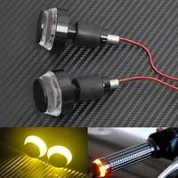 12v motorcycle handlebar end blinker for harley honda ducati universal 22mm handlebar plug amber led turn signal light indicator