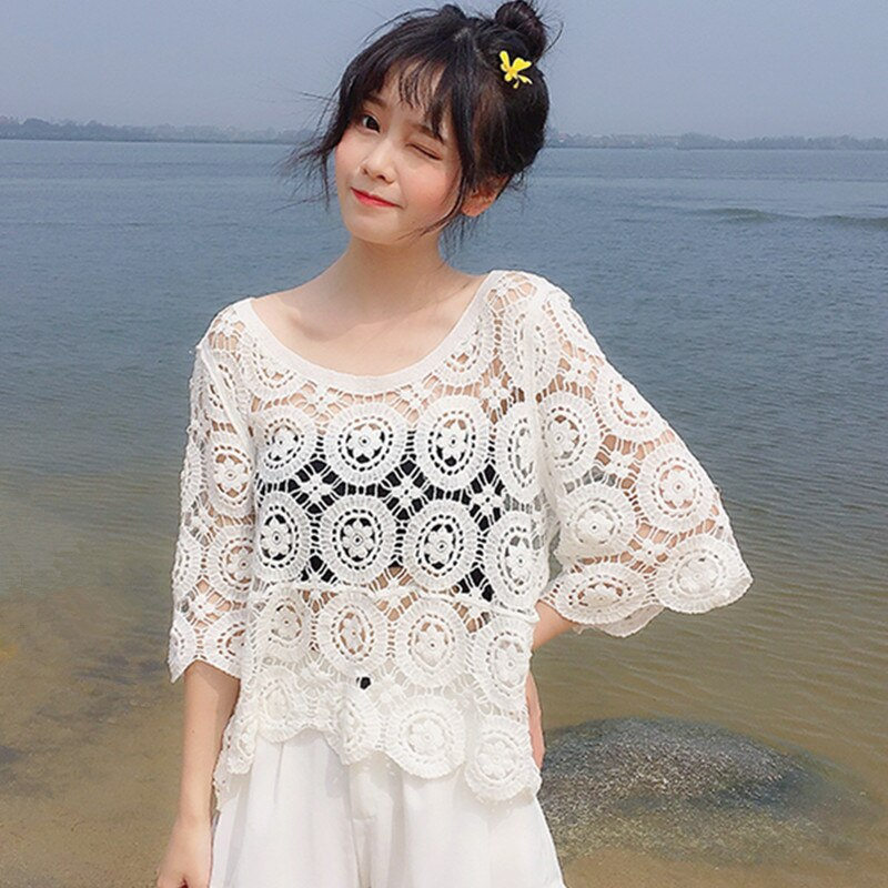 Boho Shirt Summer Sheer Hollow Out Crochet Lace Tops Women Crop Lace Blouse Transparent Beach Cover-ups plus guipure lace insert semi sheer blouse