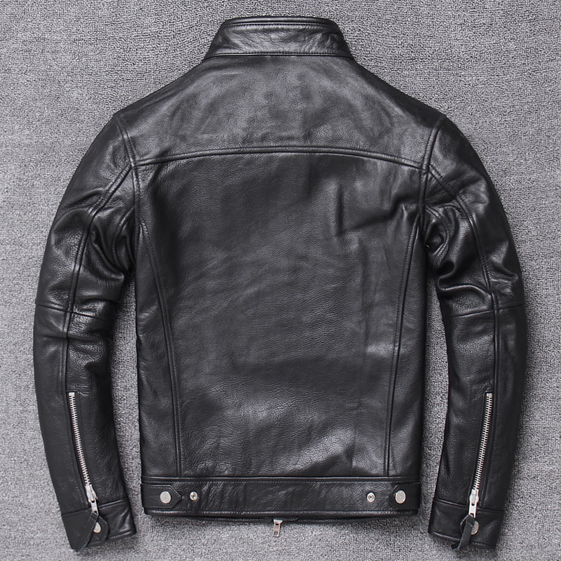 Clothes Men Genuine Jacket 2020 Cowhide Coat Motorcycle Real Cow Leather Jackets Spring Autumn Coats 025Hei KJ4222