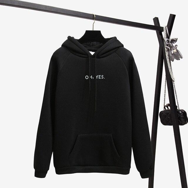 Outono inverno carta harajuku impressão pulôver grosso solto hoodies moletom feminino bolso outwear casaco