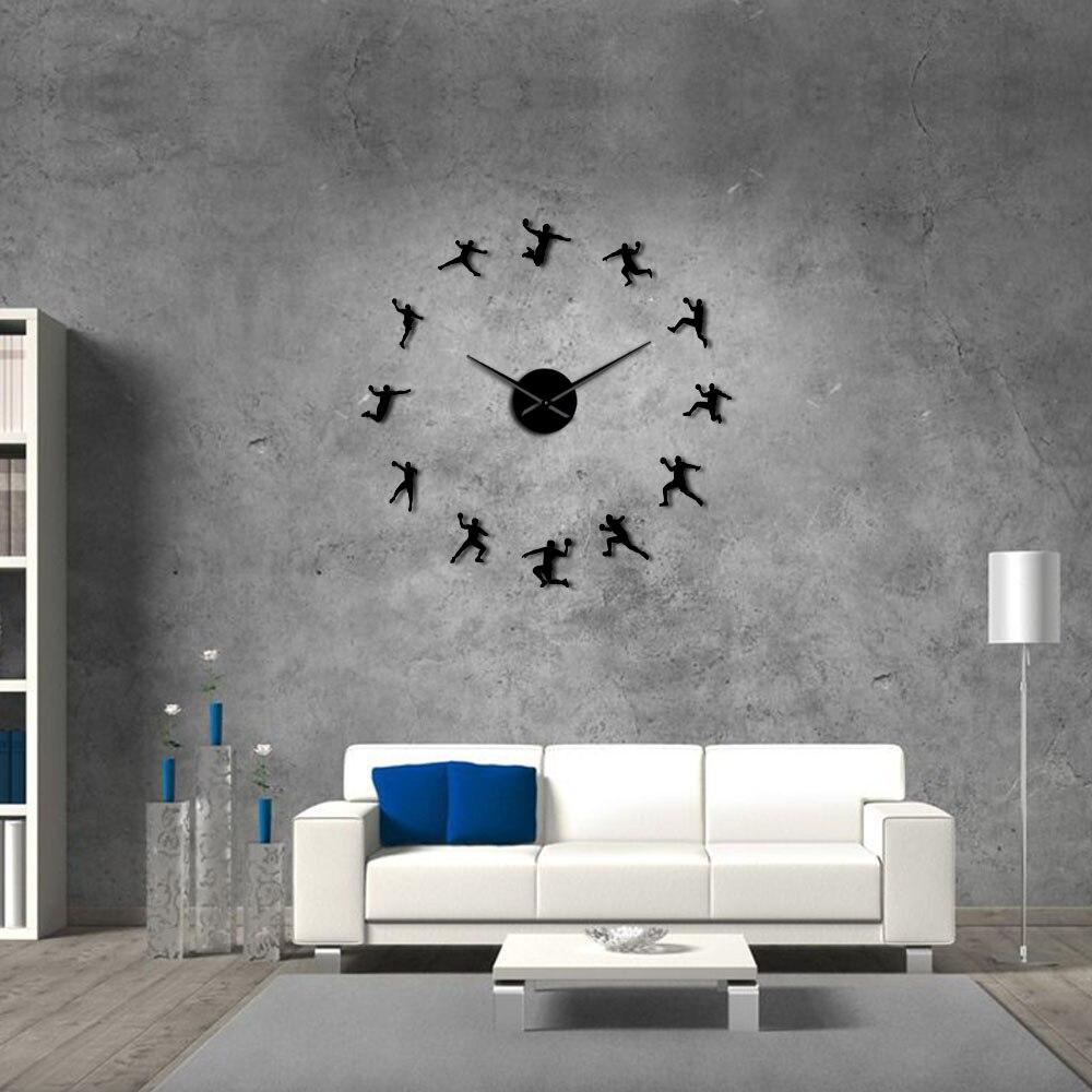 Handball Players Acrylic Silhouette Mirror Stickers DIY Wall Art Giant Wall Clock Teenager Room Sport Decor Handball Coach Gift