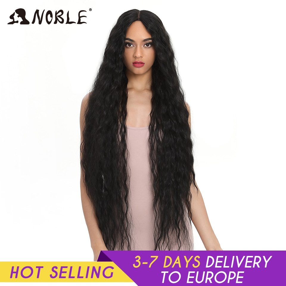 Noble Synthetic Lace Wigs For Black Women Long Curly Hair 42 Inch Cosplay Blonde Ombre Lace Front Wig Synthetic Lace Front Wig