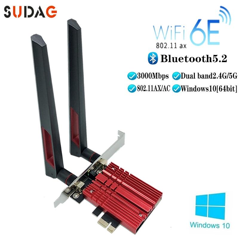 3000Mbps WiFi6E إنتل AX210 بلوتوث 5.2 ثنائي النطاق 2.4G/5GHz واي فاي بطاقة 802.11AX/التيار المتناوب PCI اكسبرس بطاقة الشبكة اللاسلكية محول الكمبيوتر