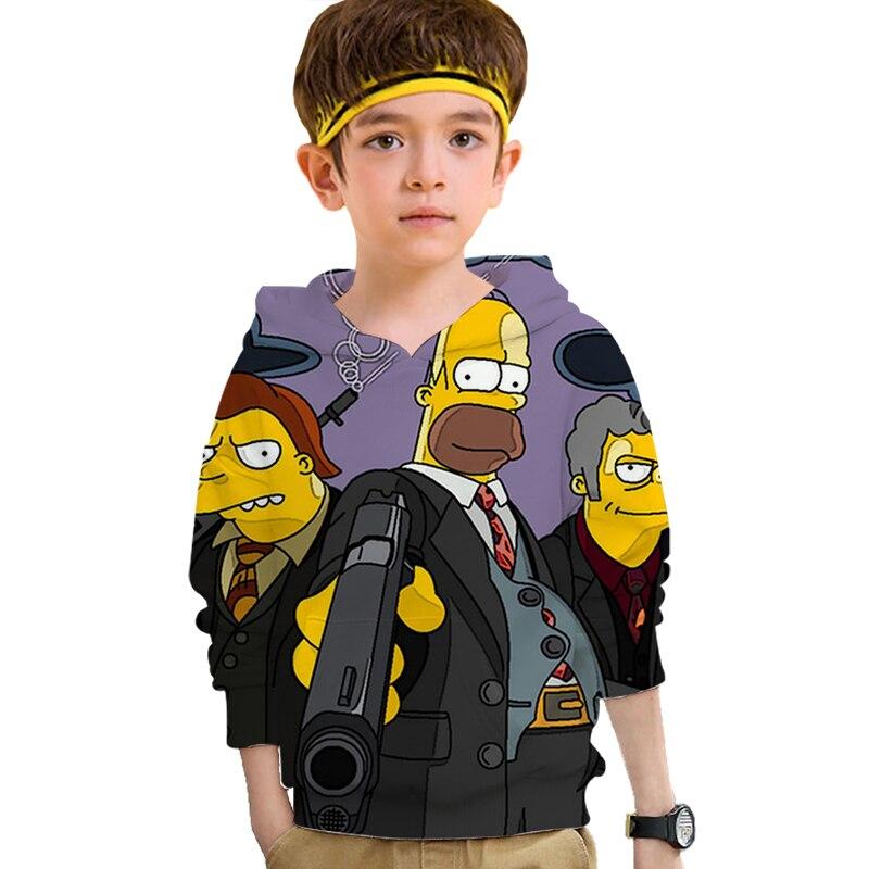 Nuevas sudaderas con capucha 3D de Simpson, ropa para bebés, sudaderas de calidad bart Simpson para chica con capucha, Jersey informal de moda de novedad