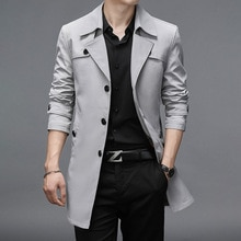 Thoshine Brand Spring Autumn Men Long Trench Coats Superior Quality Buttons Male Fashion Outerwear J