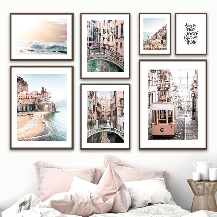 Amalfi Coast Seaside Waves, carteles nórdicos e impresiones, cuadro en lienzo para...