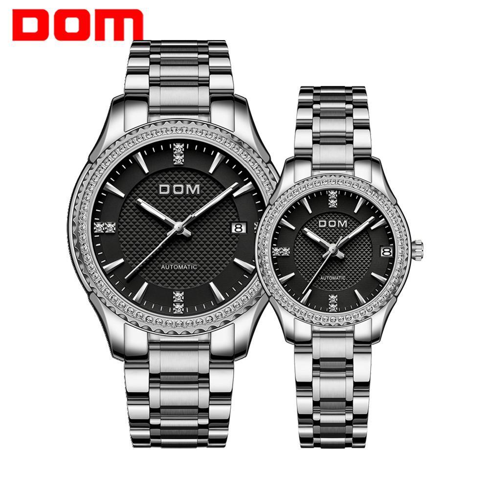 DOM Automatic mechanical watch stainless steel sports luminous couple watch women's watch men's watch waterproof business