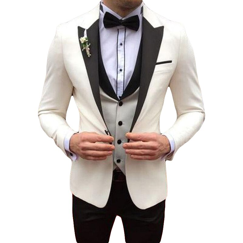 Italiano de trajes de boda para hombre smoking de novio boda Slim Fit Hombre de negocios Blazer alcanzó su punto máximo de 3 piezas abrigo pantalón chaleco