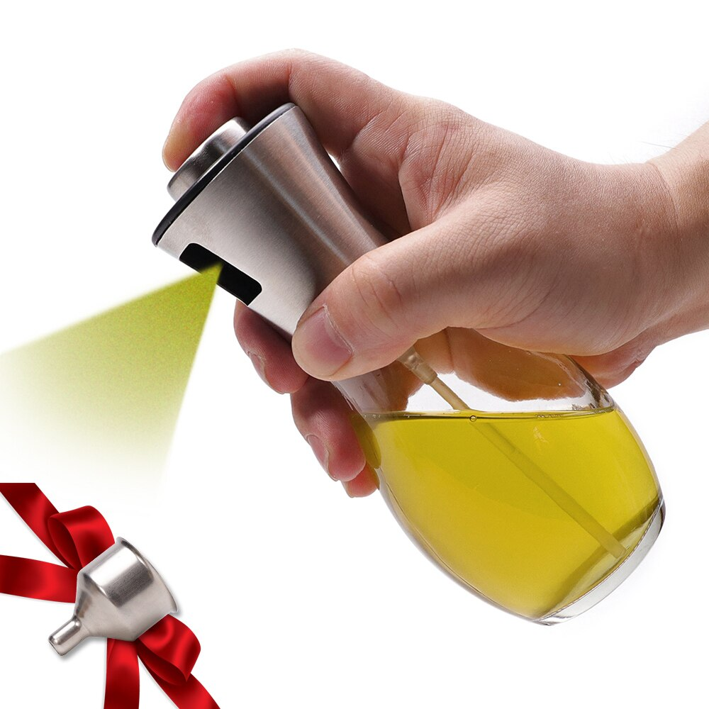 Dispensador de pulverizador de aceite de oliva para barbacoa/Cocina/frasco de cristal para vinagre con a prueba de fugas, gotas de especias, tarro, utensilios de cocina para condimentos