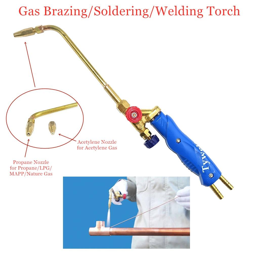 Gas Brazing Torch H01-2 Oxygen Propane Acetylene Liquified Gas for Steel Copper Aluminum Silver Braze Soldering Welding Torch