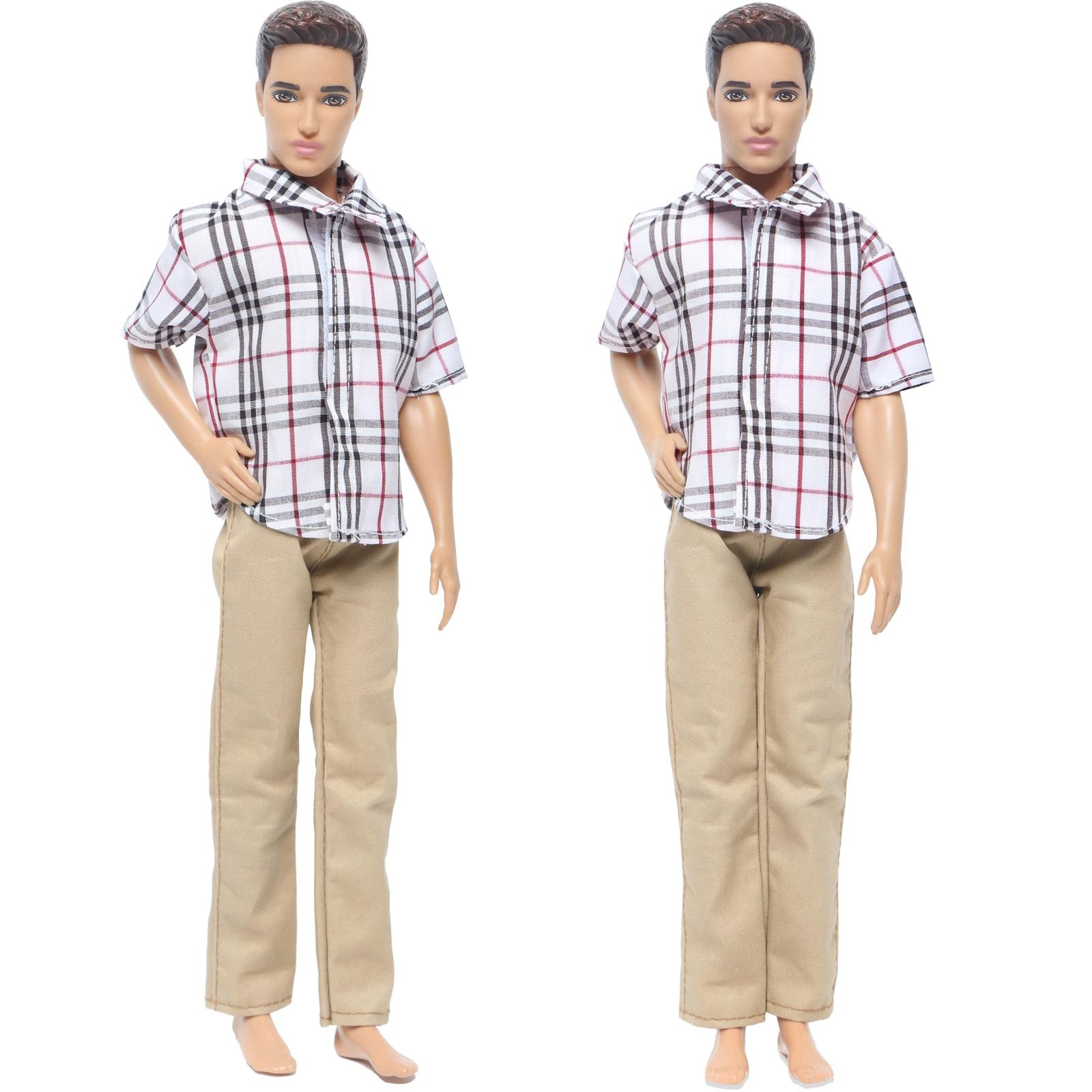 Traje de hombre atractivo camisa de alta calidad pantalones caqui pantalones ropa de fiesta de boda para muñeca Barbie amigo Ken Accesorios