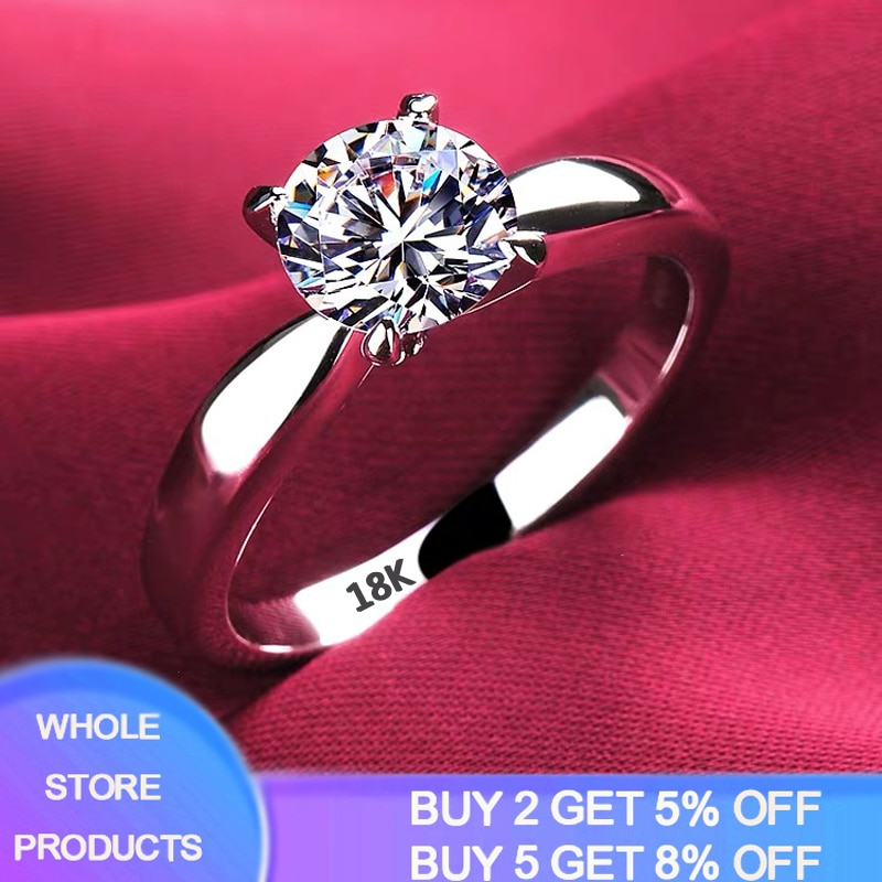 With Certificate 18K White Gold Rings for Women 2.0ct Round Cut Zirconia Diamond Solitaire Ring Wedding Band Engagement Bridal