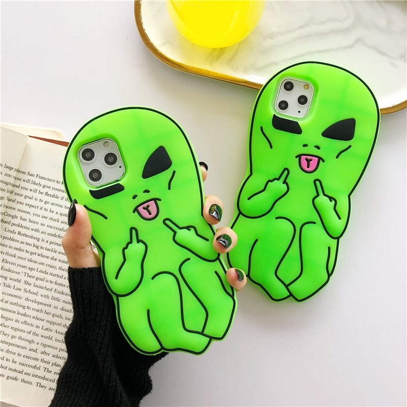 Personality Green Alien Couple Soft Case For Iphone 11 12 Pro Max Mini 7 8 Plus Xr X Xs Max Se 2 Silicone Phone Cover Fundas