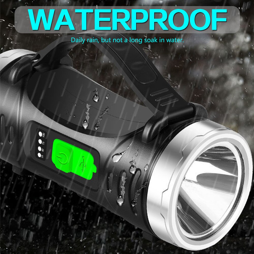 Dual Light Source Flashlight Portable Searchlight Torch Lantern Portable Spotlight USB Rechargeable Night Fishing Hand Lamp enlarge