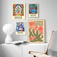 mexican art and life exhibition poster canvas prints mexico abstract decorative art painting wall picture living room home decor