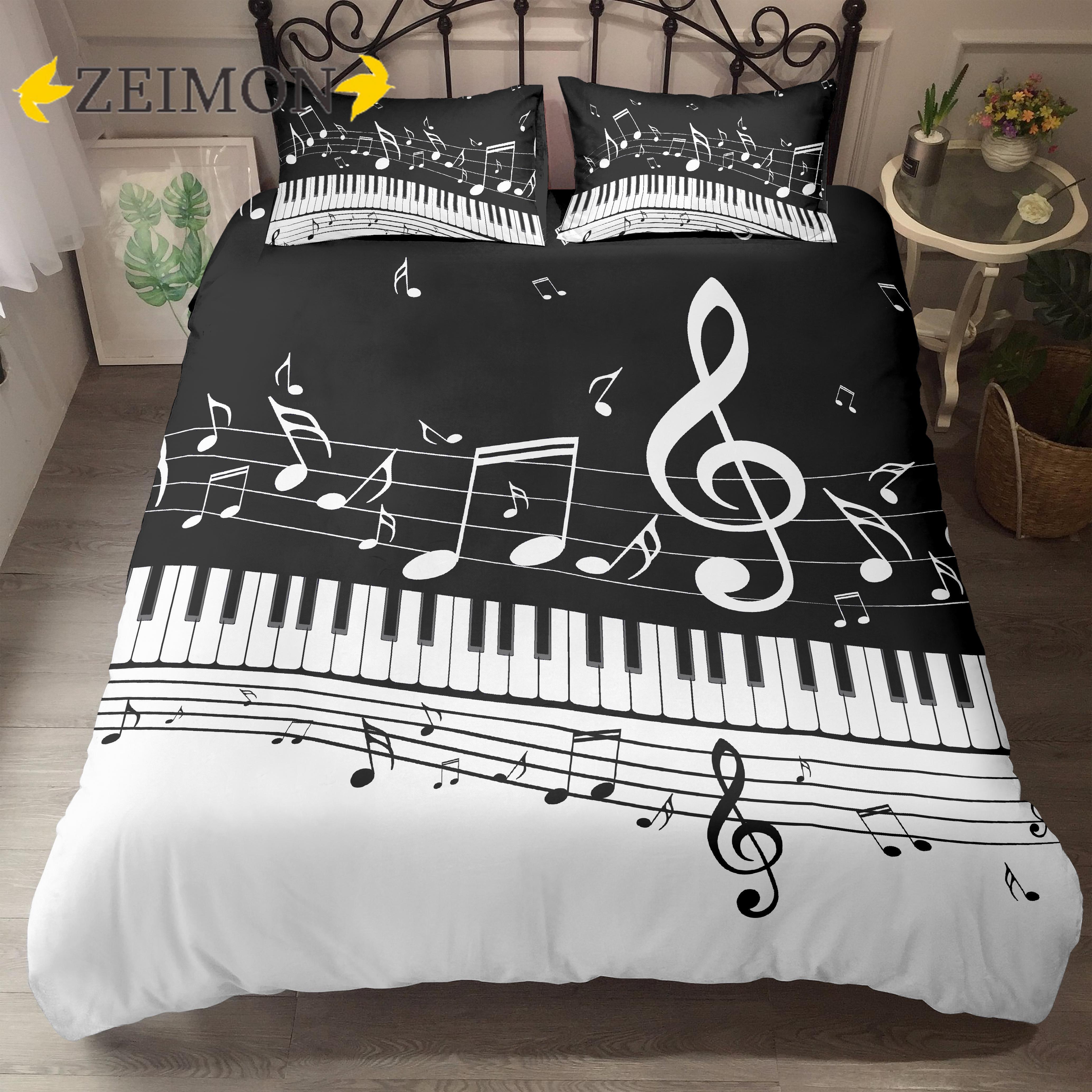 ZEIMON ثلاثية الأبعاد طقم ملائات سرير مطبوع الموسيقى ملاحظة ثلاثة أضعاف الموظفين أبيض وأسود 2/3 قطع حاف طقم أغطية السرير البوليستر الملابس