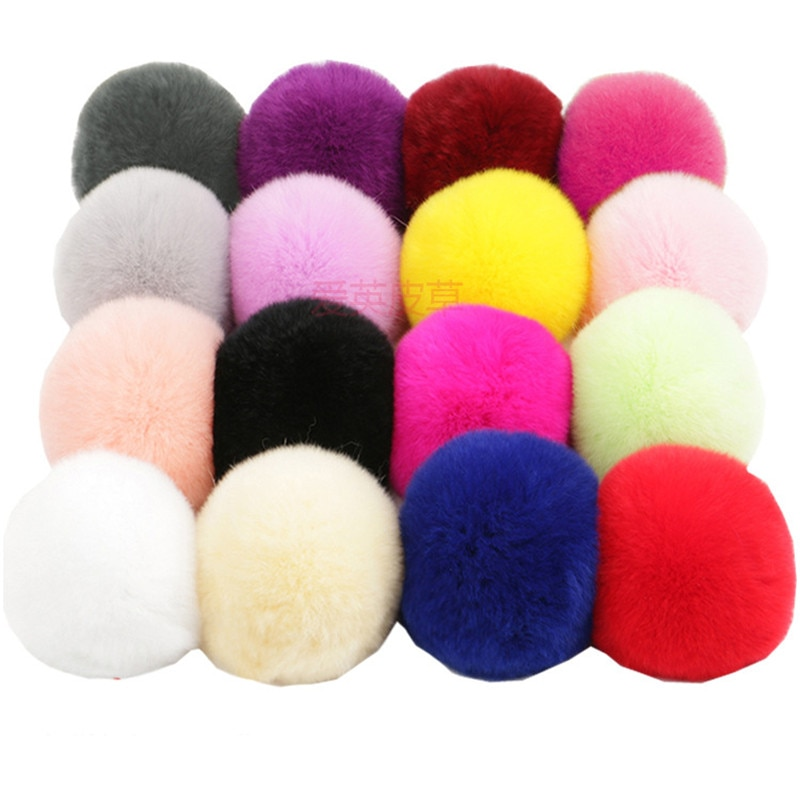 Real Rex Rabbit Fur Ball 6cm Pompom Car Pompon Rabbit Fur Ball for Keychain Fur DIY Bag Charms with