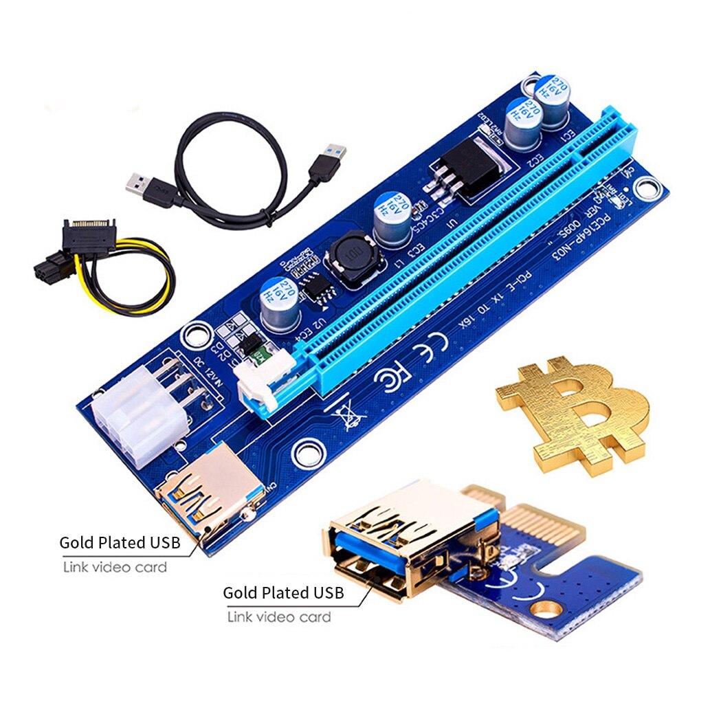 1 шт. Golden VER009S PCI Express PCIE PCI-E Райзер-карта 009s 006C удлинитель 60 см USB 3,0 кабель SATA к 6Pin BTC Майнер