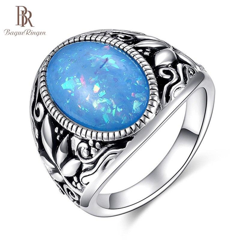 Bague ringen branco azul rosa opala anel de prata 925 jóias para as mulheres vintage design 11*17mm gemstone anel de festa 925 atacado