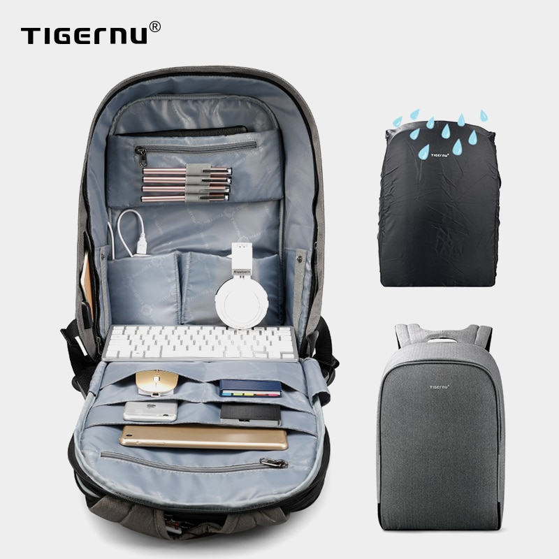 Tigernu Anti theft 15.6inch Laptop Backpack Men Women USB Backpack Male Mochila School Laptop Backpack Bag For Teenagers Casual