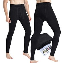 Men's Warm Pants Autumn and Winter Autumn Thickened Plus Velvet Leggings Lamb Wool Waist Protection