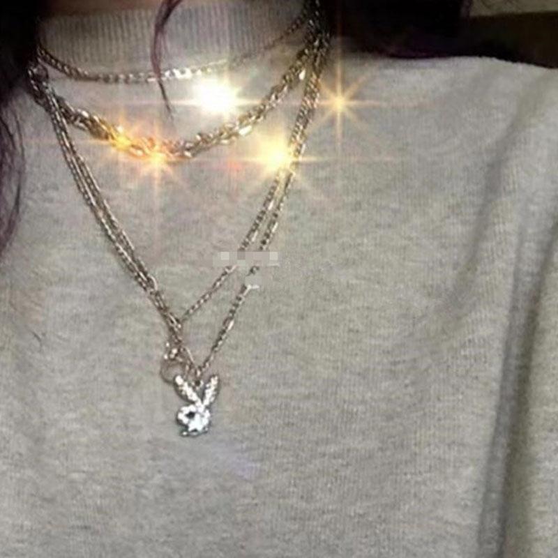 Exclusive Rhinestone rabbit Pendant necklace fashion jewelry heart stainless steel punk korean style women birthday gift e-girl