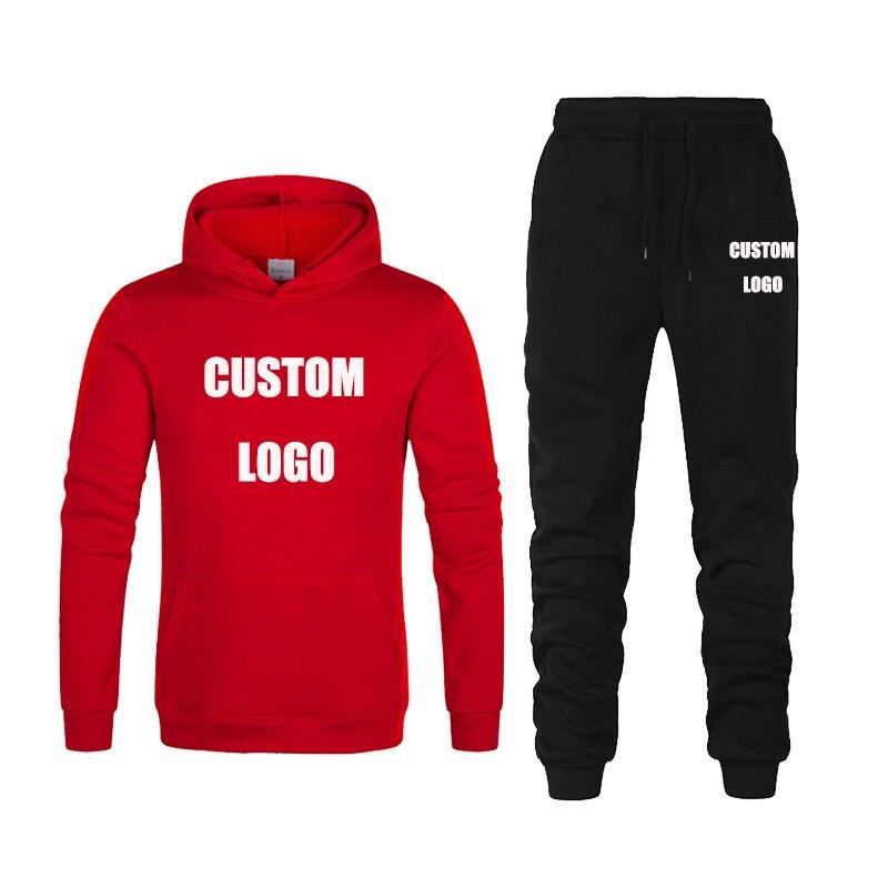 Спортивный костюм с логотипом на заказ, худи с принтом, пуловер, свитшот + брюки, спортивная одежда, женский спортивный костюм