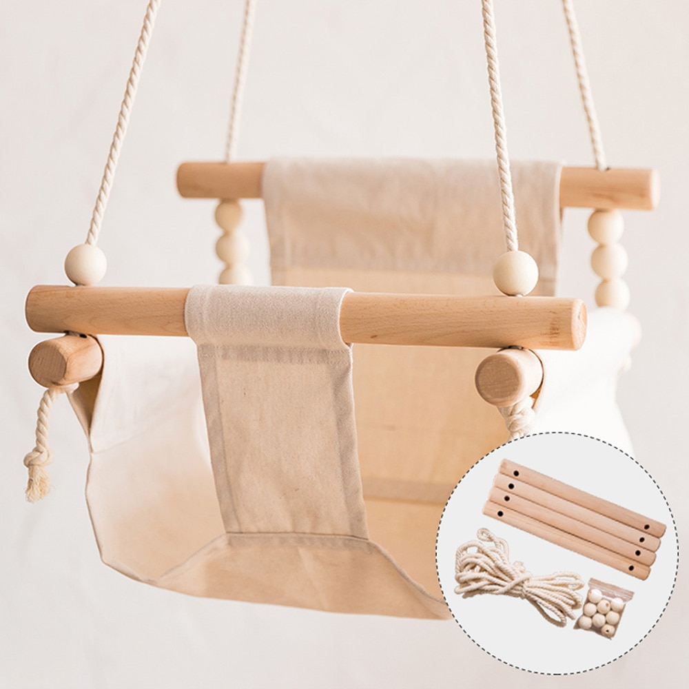 Baby Swing Chair Canvas Hanging Wood Children Baby Rocker Toy Safety Baby Bouncer Outside Swing Chair Toy Rocker For Children