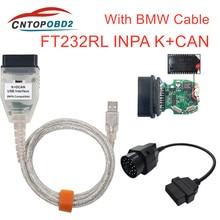 INPA K + DCAN Interface USB pour BMW FT232RL   Puce avec interrupteur pour BMW INPA K peut OBD2 câble de Diagnostic pour BMW 20PIN à 16PIN