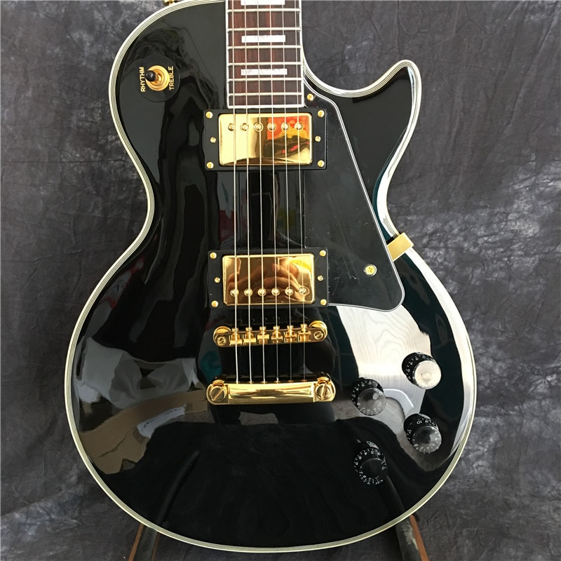 Guitar, electric guitar, black gloss, gold hardware, in stock, fast shipping
