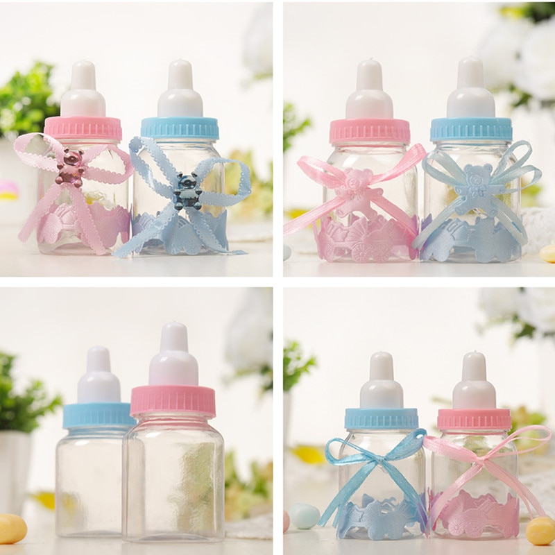 12PCS Baby Bottle Candy Box Party Supplies Baby Feeding Bottle Wedding Favors Gifts Box Baby Shower Dragee Baptism Decoration