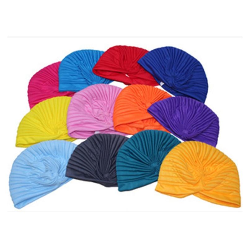 B17872 moda Musl India sombrero nuevo sólido algodón niñas skullcap accesorios para el cabello turbante beanies para mujeres