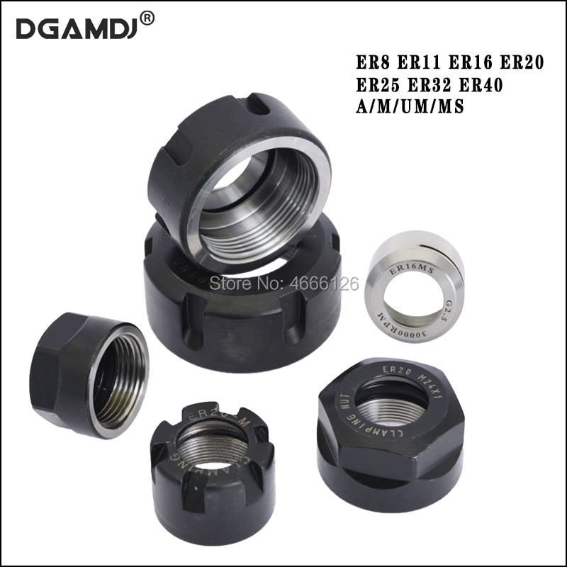 ER8 ER11 ER16 ER20  ER25 ER32 ER40  A M UM nut   ER  collet nut for clamping cnc milling turning collet chucks 1pcs precision balanced collet nut er11 er16 er20 er25 er32 nut spring collect nut clamping cnc milling engraving machine