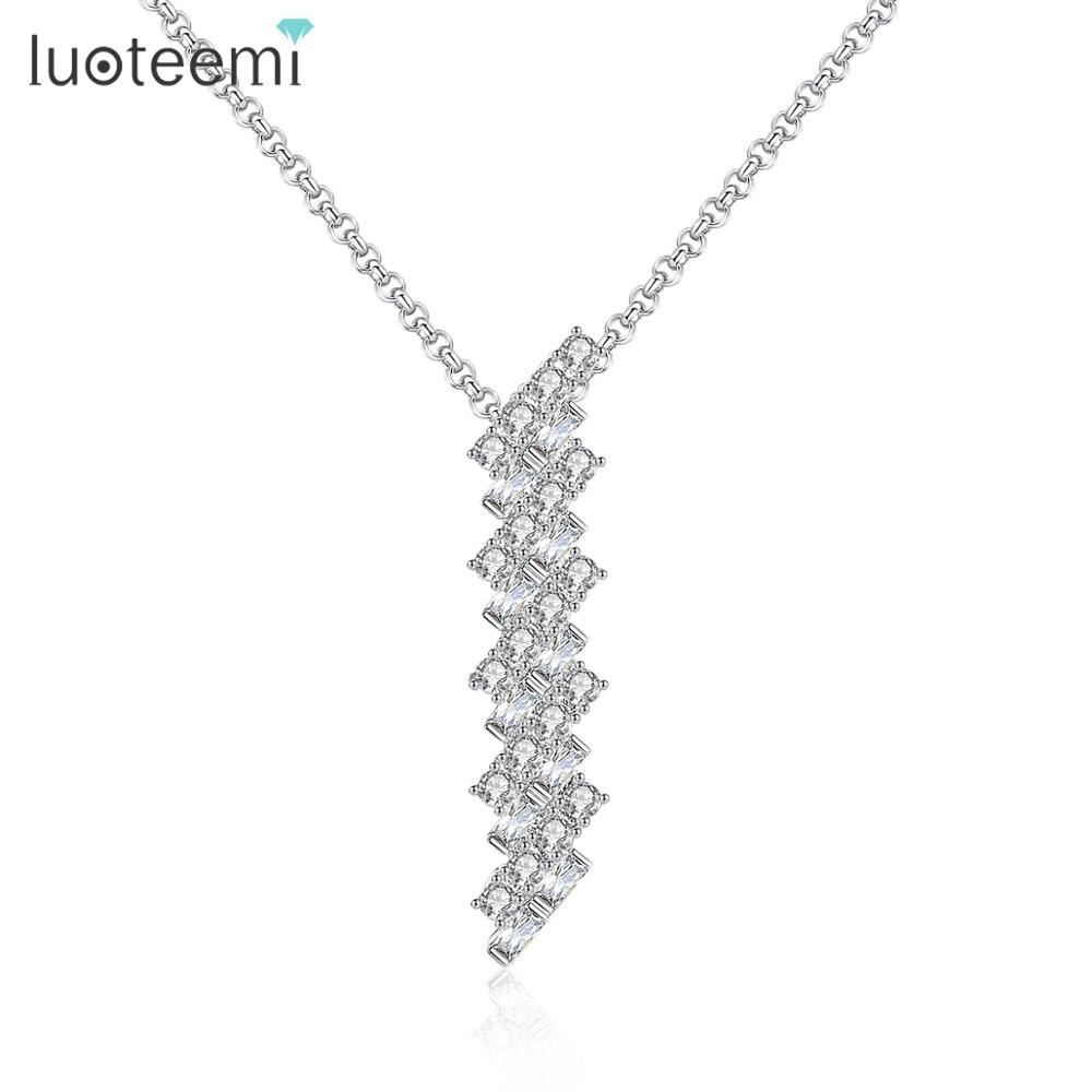 Luoteemi design delicado claro zircão cúbico longo pingente colares gargantilha para mulheres meninas festa de casamento moda jóias presente