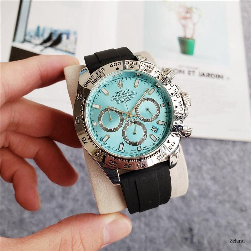 brand fashion classic quartz mens watch 2020 chronograph rubber belt date wristwatch rose gold metal watch men 99